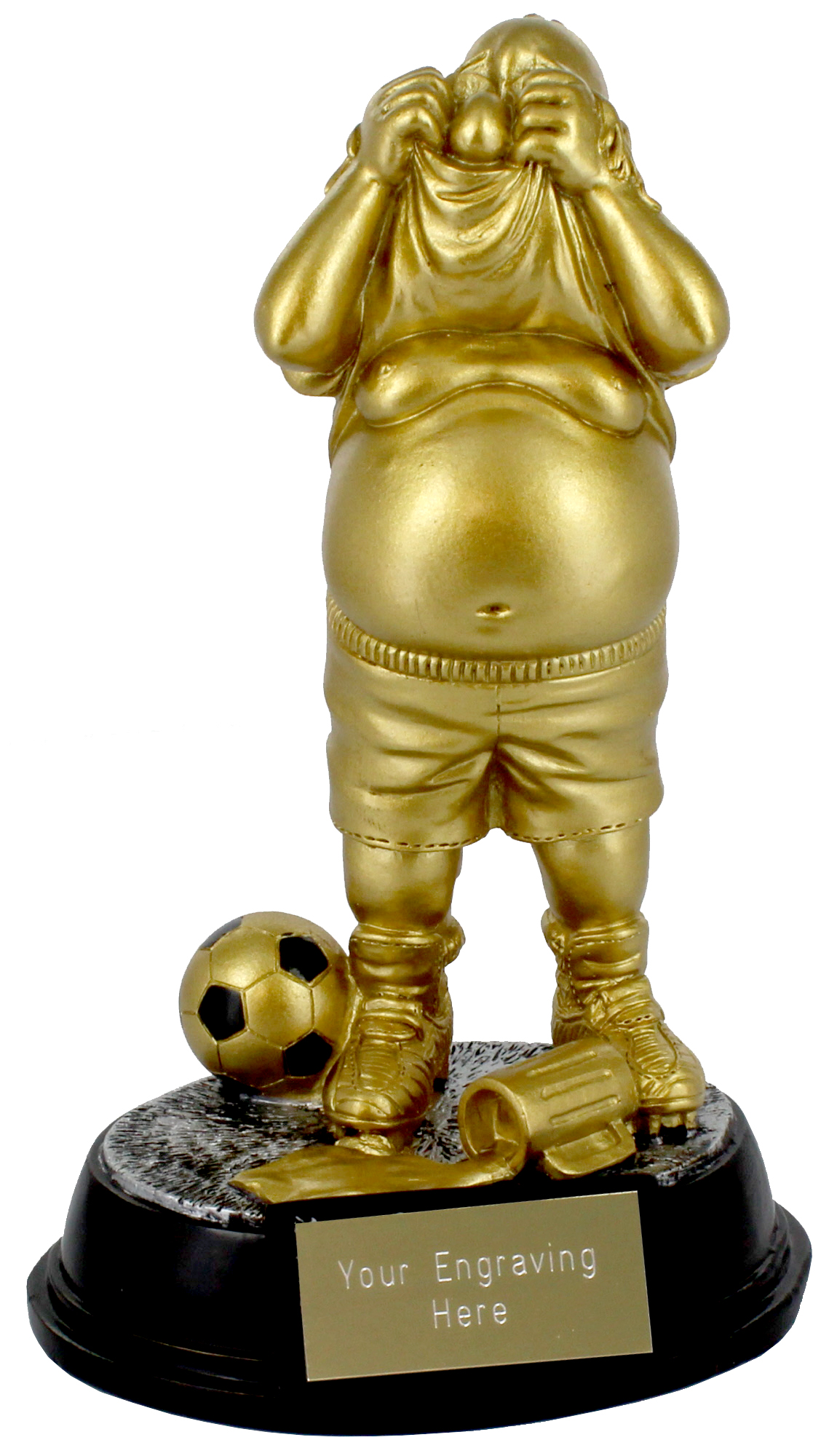 """Gold Resin Outrageous Beer Bellies Whinger Trophy 16.5cm (6.5"""")"""