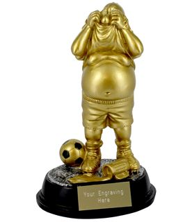 "Gold Resin Outrageous Beer Bellies Whinger Trophy 16.5cm (6.5"")"