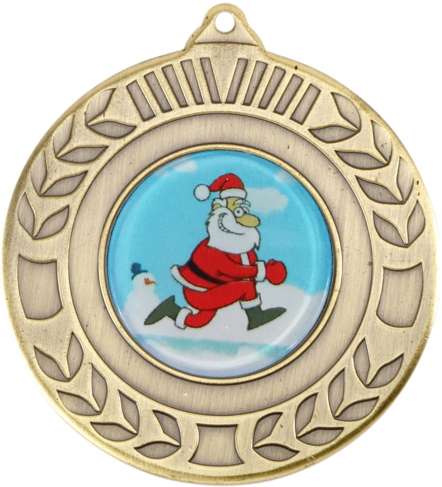 "Gold Christmas Wreath Medal 50mm (2"")"