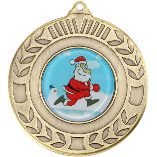"""Gold Christmas Wreath Medal 50mm (2"""")"""