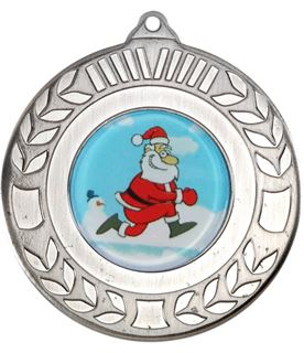 "Silver Christmas Wreath Medal 50mm (2"")"