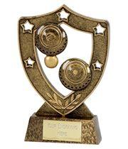 """Antique Gold Lawn Bowls Shield 15cm (6"""")"""