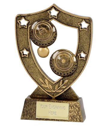 """Antique Gold Lawn Bowls Shield 12.5cm (5"""")"""