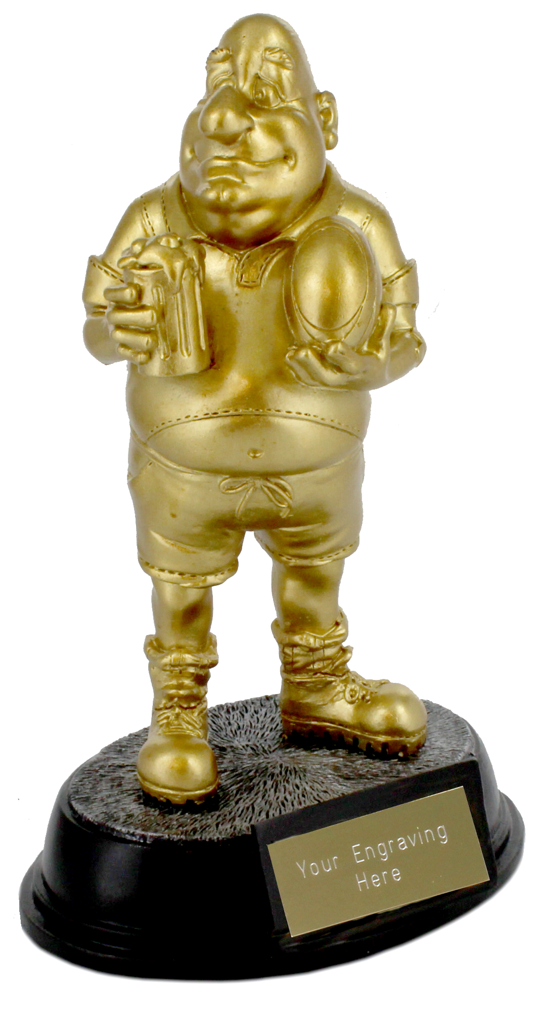 """Gold Resin Outrageous Beer Bellies Rugby Man Trophy 16.5cm (6.5"""")"""