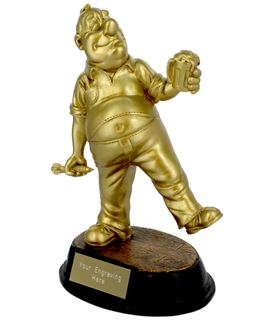 "Gold Resin Outrageous Beer Bellies Darts Player Trophy 16.5cm (6.5"")"
