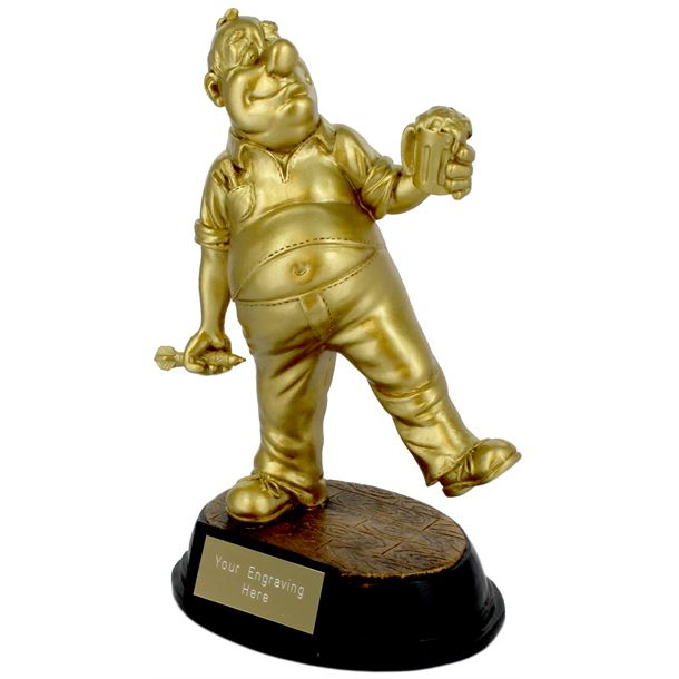 """Gold Resin Outrageous Beer Bellies Darts Player Trophy 16.5cm (6.5"""")"""