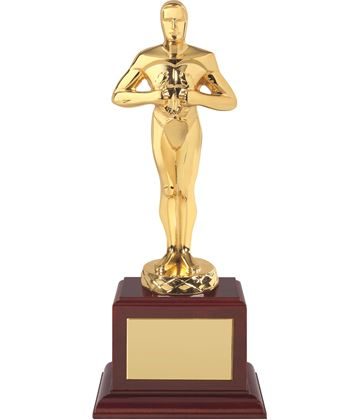 "Gold Plated Classic Award on Piano Wood Base 30.5cm (12"")"