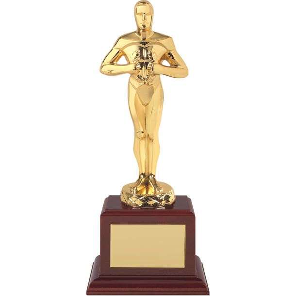 """Gold Plated Classic Award on Piano Wood Base 30.5cm (12"""")"""