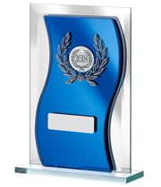 "2018 Blue Mirrored Glass Plaque Award 15cm (6"")"