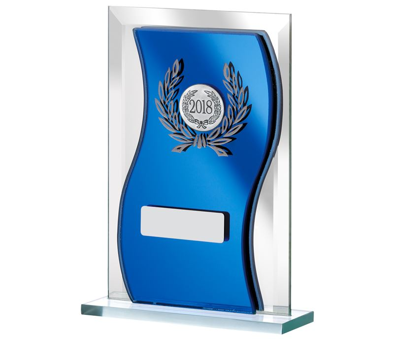 "2018 Blue Mirrored Glass Plaque Award 16.5cm (6.5"")"
