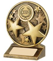 "2018 Round Gold Resin Multi Star Trophy 9cm (3.5"")"
