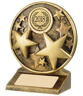 "2018 Round Gold Resin Multi Star Trophy 11cm (4.25"")"