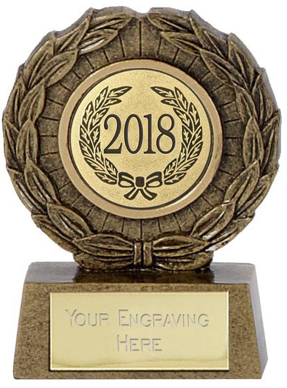 "2018 Resin Mini Star Laurel Wreath Trophy 6.5cm (2.5"")"
