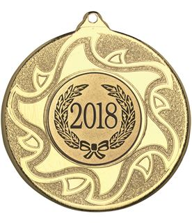 """2018 Gold Sunburst Star Patterned Medal 50mm (2"""")"""
