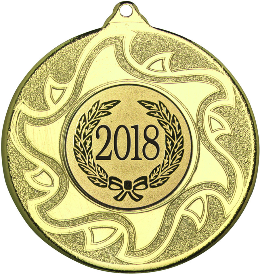"2018 Gold Sunburst Star Patterned Medal 50mm (2"")"