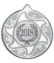 "2018 Silver Sunburst Star Patterned Medal 50mm (2"")"