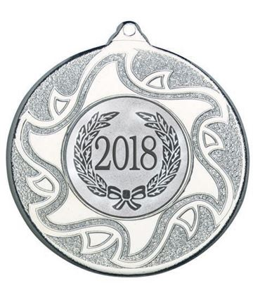 "2018 Silver Sunburst Star Patterned Medal 50mm (2"")"