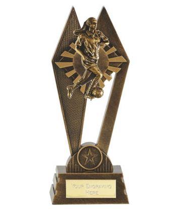 "Female Footballer Peak Trophy Antique Gold 22.5cm (8.75"")"