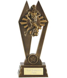 "Female Footballer Peak Trophy Antique Gold 20cm (8"")"