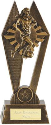 "Female Footballer Peak Trophy Antique Gold 20cm (8"")"