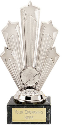 "Star Supreme Trophy On Marble Base Silver 18.5cm (7.25"")"