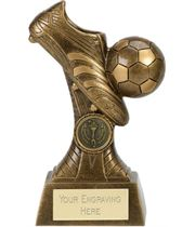 "3D Ball & Boot Football Trophy On Patterned Riser Antique Gold 16cm (6.25"")"