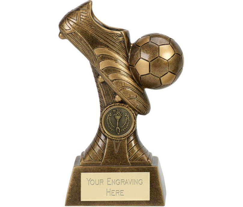 "3D Ball & Boot Football Trophy On Patterned Riser Antique Gold 20cm (8"")"