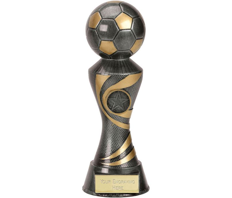 "Antique Silver 3D Football On Ace Spiral Column Trophy 22.5cm (8.75"")"