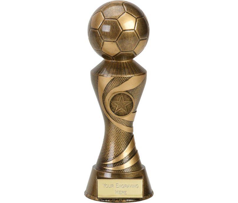 "Antique Gold 3D Football On Ace Spiral Column Trophy 22.5cm (8.75"")"