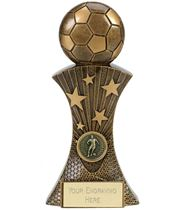 "3D Football On Star Burst Column Antique Gold Trophy 13cm (5"")"