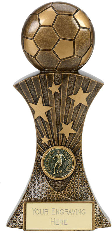 "3D Football On Star Burst Column Antique Gold Trophy 22.5cm (9"")"
