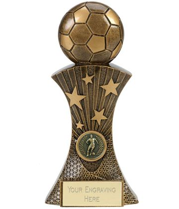 "3D Football On Star Burst Column Antique Gold Trophy 20cm (8"")"