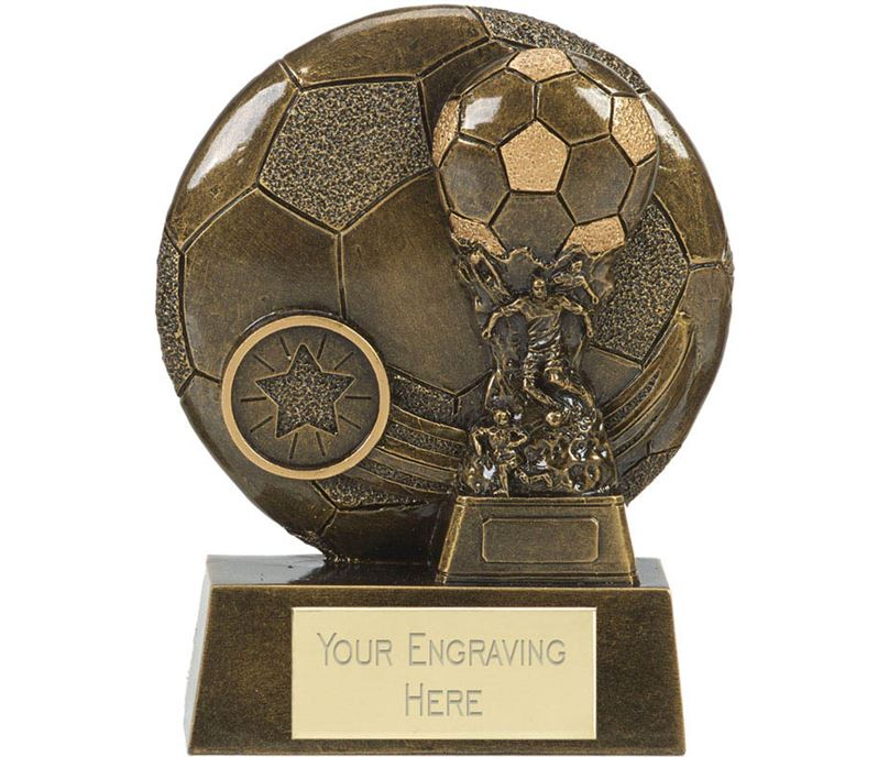 """Football Cup Shield Trophy Antique Gold 12.5cm (5"""")"""