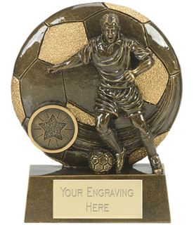 """Football Action Shield Trophy Antique Gold 15cm (6"""")"""