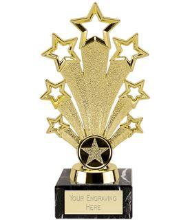 """Gold Star Fanfare Trophy On Black Marble Base 18cm (7"""")"""