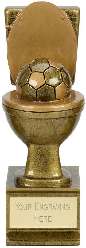 """Novelty Toilet Golden Flush Football Award Antique Gold 15cm (6"""")"""