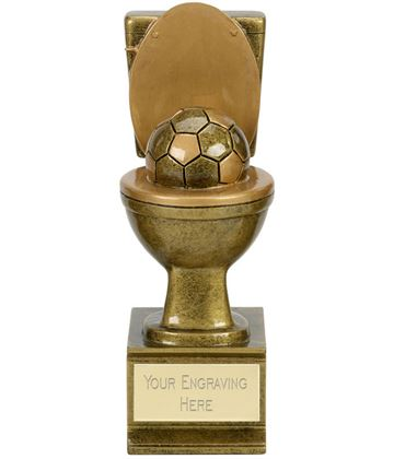 "Novelty Toilet Golden Flush Football Award Antique Gold 15cm (6"")"