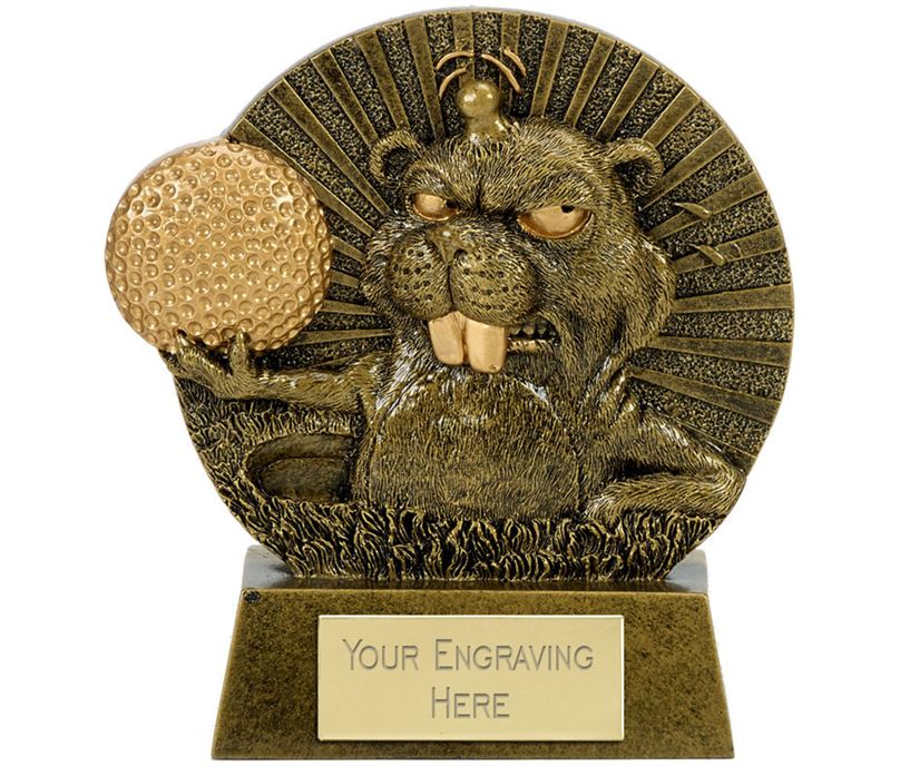 "Novelty Golf Award Angry Mole Antique Gold 13.5cm (5.25"")"