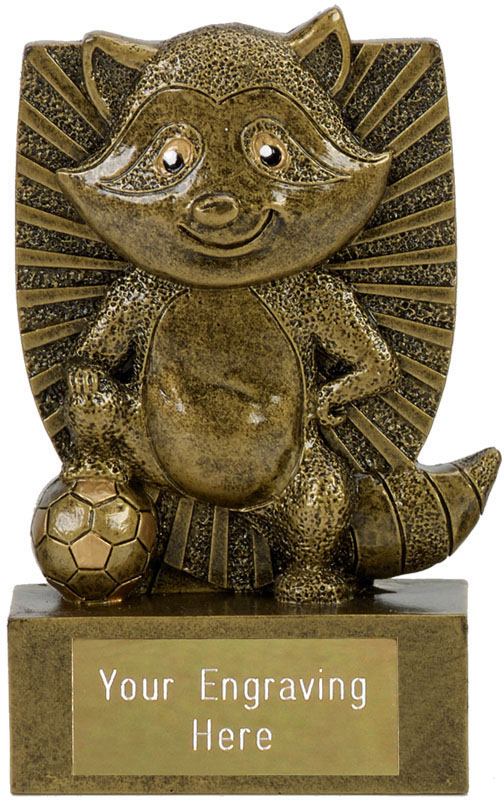"Novelty Football Award Ronnie The Racoon Antique Gold 11cm (4.25"")"