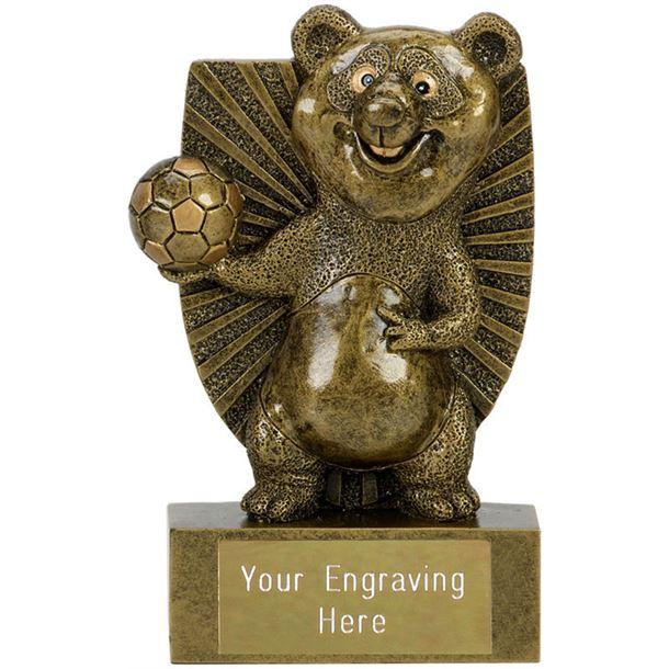 "Novelty Football Panda Shield Award Antique Gold 11cm (4.25"")"