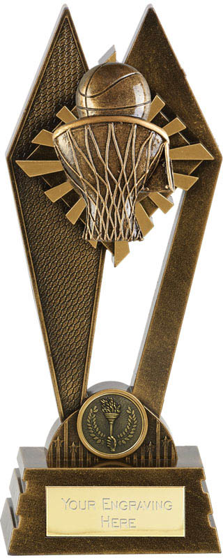 "Basketball Peak Trophy Antique Gold 22.5cm (8.75"")"