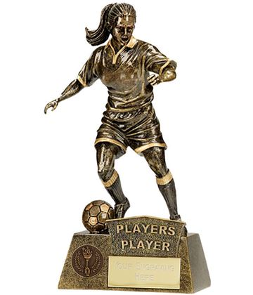 """Players Player Female Pinnacle Football Trophy Antique Gold 22cm (8.75"""")"""