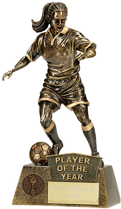 "Player Of The Year Female Pinnacle Football Trophy Antique Gold 22cm (8.75"")"