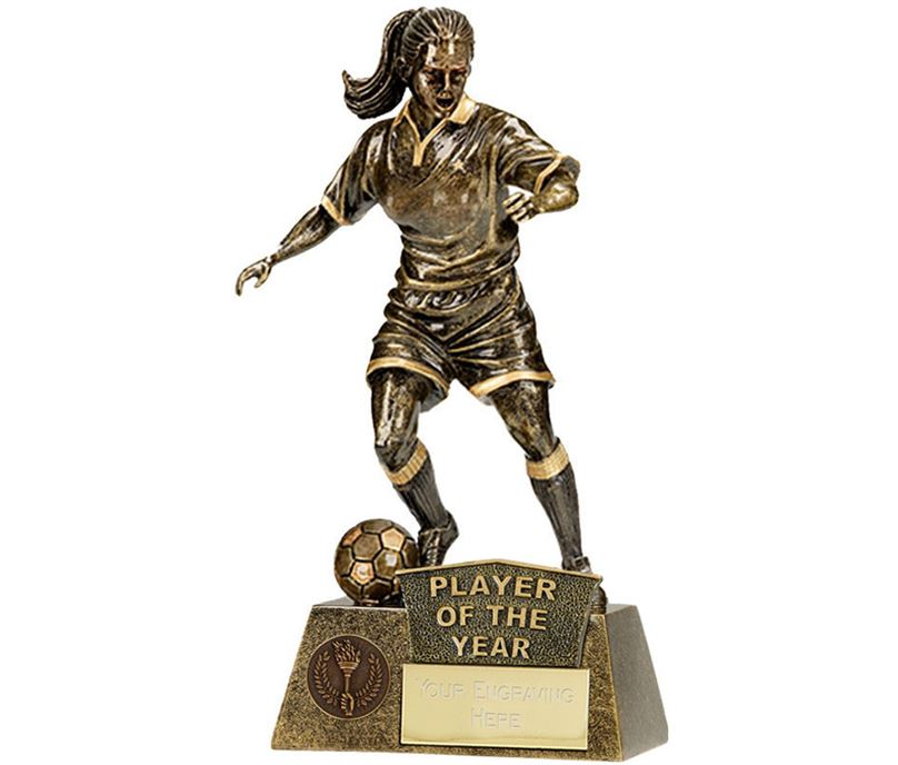 """Player Of The Year Female Pinnacle Football Trophy Antique Gold 22cm (8.75"""")"""