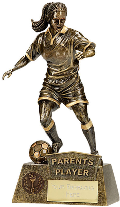 "Parents Player Female Pinnacle Football Trophy Antique Gold 22cm (8.75"")"