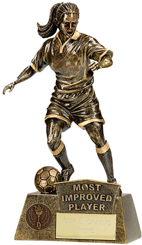 "Most Improved Player Female Pinnacle Football Trophy Antique Gold 22cm (8.75"")"