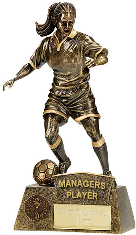 "Managers Player Female Pinnacle Football Trophy Antique Gold 22cm (8.75"")"