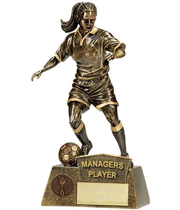 """Managers Player Female Pinnacle Football Trophy Antique Gold 22cm (8.75"""")"""