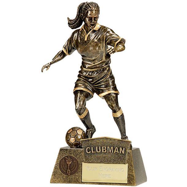 "Clubman Female Pinnacle Football Trophy Antique Gold 22cm (8.75"")"