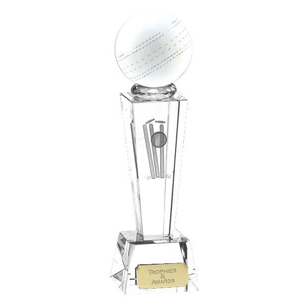 "3D Cricket Ball on Crystal Glass Riser Award 18cm (7"")"